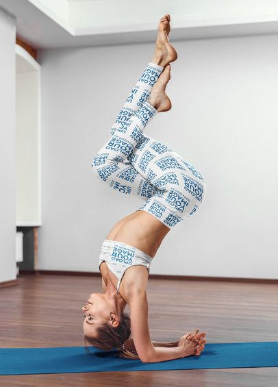 Leggings Mockup of a Woman Wearing a Sports Bra While Doing an Advanced Yoga Pose 38431-r-el2