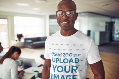 T-Shirt of a Man with Glasses Posing in a Work Place 35453-r-el2