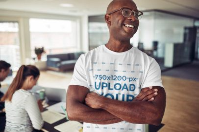 T-Shirt Design Creator Featuring a Smiling Man with Glasses and Crossed Arms 37603-r-el2