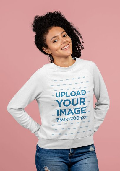 Crewneck Sweatshirt Mockup of a Smiling Woman in a Studio 23961