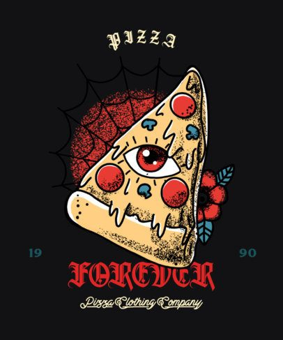 T-Shirt Design Creator Featuring a Pizza with a Secret Society Eye 2629g