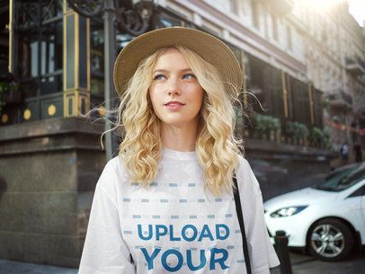 Unisex T-Shirt Mockup of a Woman Walking in the City 38711-r-el2
