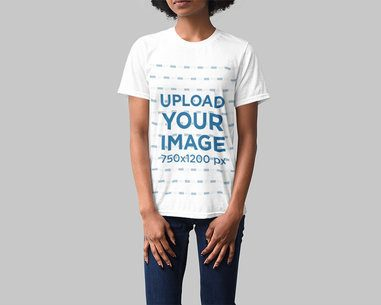 Studio Mockup of a Woman Wearing a Loose T-Shirt 4859-el1