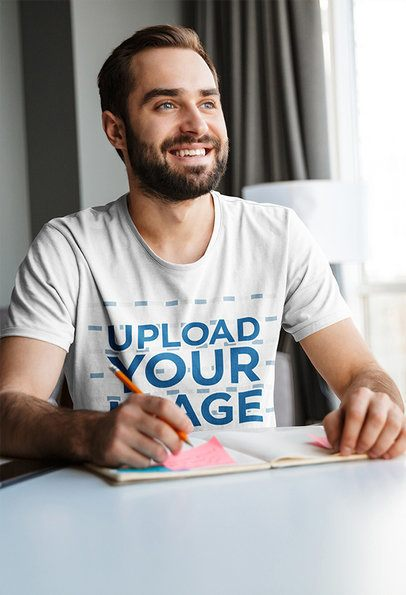 T-Shirt Mockup of a Smiling Man Working From Home 38156-r-el2