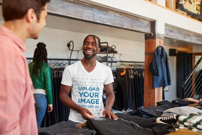V-Neck T-Shirt Mockup of a Man at a Clothing Store 38943-r-el2