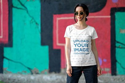 T-Shirt Mockup of a Woman Posing in an Urban Scenario 4863-el1