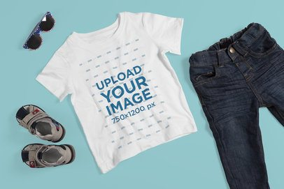 Flat Lay T-Shirt Mockup of a Boy's Outfit 4868-el1