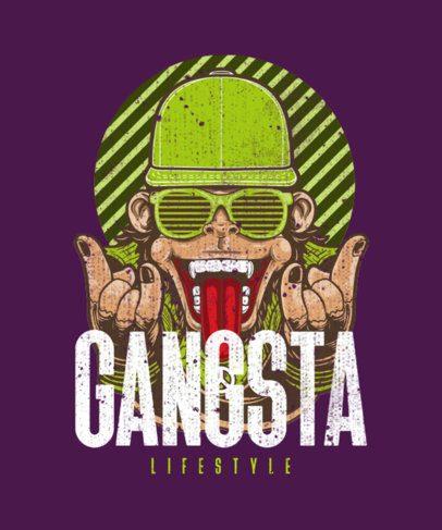 Hip-Hop T-Shirt Design Template Featuring a Cool Gorilla with Grillz 1961d-el1