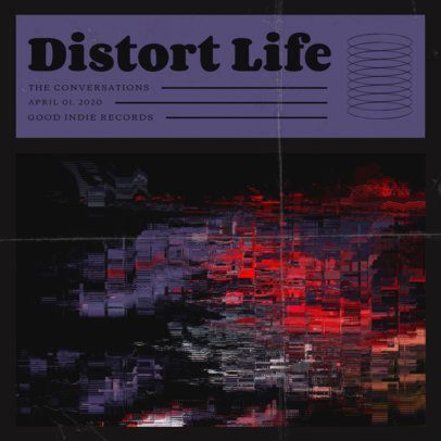 Music Album Cover Design Template with Glitch Texture 1926-el1