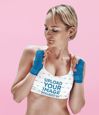 Mockup of a Female Boxer Wearing a Sublimated Sports Bra 38562-r-el2