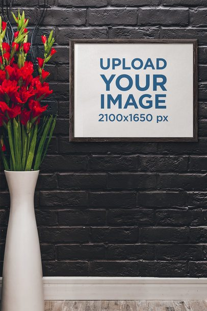 Mockup Featuring an Art Print Placed by a Big Vase With Red Flowers 4885-el1