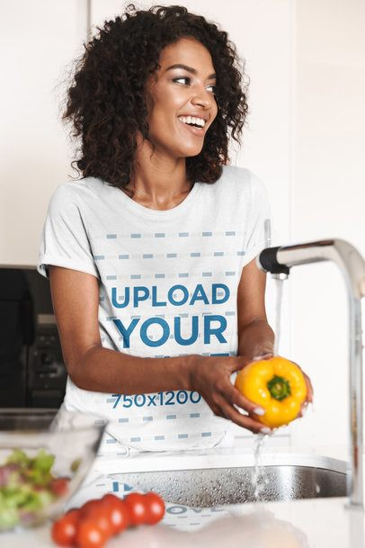 T-Shirt Mockup of a Woman Washing Vegetables 38210-r-el2