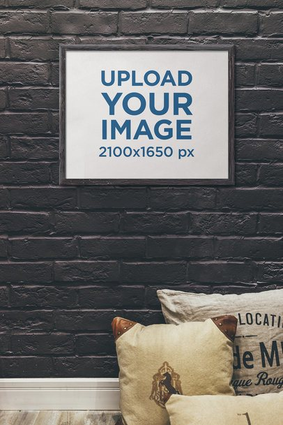 Art Print Mockup Featuring a Dark Brick Wall 4886-el1