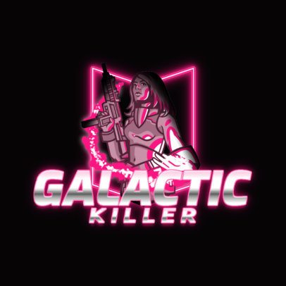 Logo Maker for a Gaming Squad with a Female Galactic Warrior 3403e