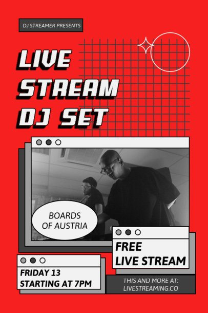Poster Design Creator for a DJ Live Stream Featuring Retro Computer Tabs 1886a-el1