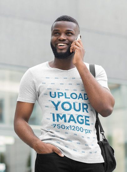 Mockup of a Man Wearing a Heathered T-Shirt While on the Phone 38828-r-el2