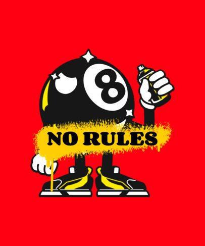 T-Shirt Design Template Featuring an Eight Ball Cartoon and a Graffiti Paint Effect 2667d