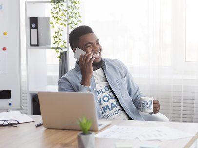 T-Shirt and Mug Mockup of a Man Talking on the Phone 38870-r-el2