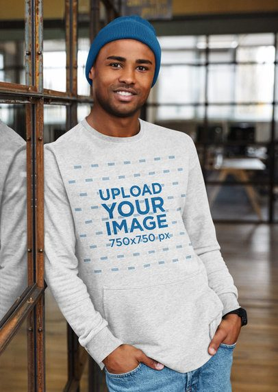 Mockup of a Man Posing with a Heather Sweatshirt 38964-r-el2