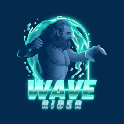 Gaming Logo Template Featuring an Aquatic Warrior 3403g