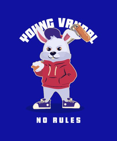 T-Shirt Design Template Featuring a Cool Though Rabbit 2666d