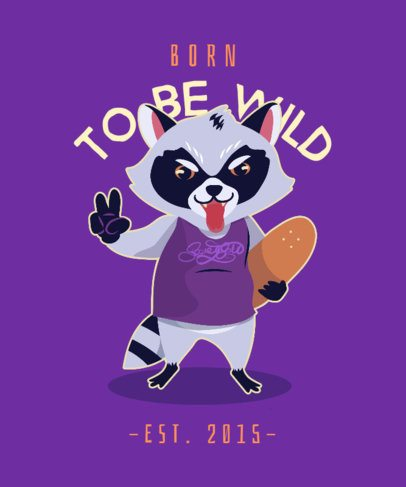 T-Shirt Design Template of a Raccoon with a Skateboard 2666f