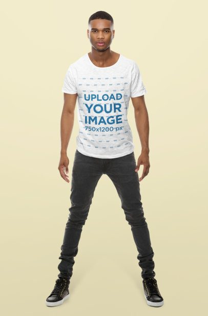 T-Shirt Mockup of a Man Standing in a Studio 37816-r-el2