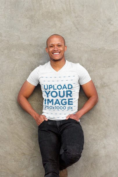 Mockup of a Happy Man with a V-Neck T-Shirt Leaning on a Wall 37819-r-el2