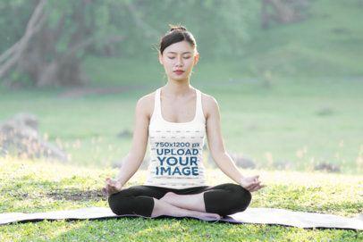 Tank Top Mockup of a Woman Enjoying a Yoga Meditation in the Woods 38751-r-el2