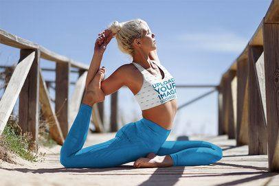 Sports Bra Mockup Featuring a Flexible Woman Doing Yoga by the Beach 38370-r-el2