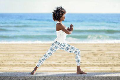 Sports Leggings Mockup of a Woman Doing Yoga By the Sea 38433-r-el2