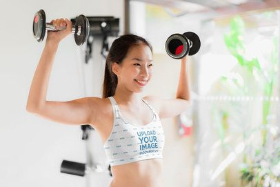 Sports Bra Mockup of a Woman Lifting Weights 38455-r-el2