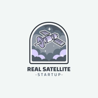Startup Logo Template Featuring a Satellite Illustration 2077d-el1