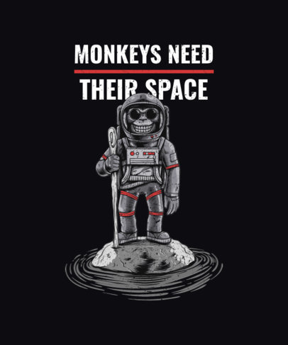 T-Shirt Design Maker Featuring Monkey Astronauts and Space Graphics 2078-el1