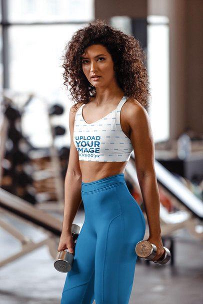 Sports Bra Mockup of a Fit Woman at the Gym 38620-r-el2