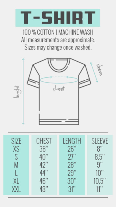 T-Shirt Label Design Maker with Sizing Charts 2691
