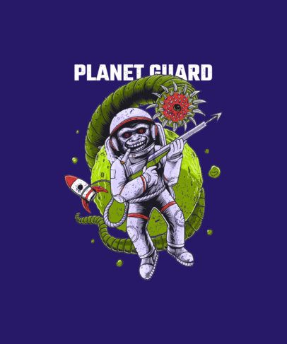 T-Shirt Design Template Featuring a Monkey Astronaut and a Space Monster Graphic 2078a-el1