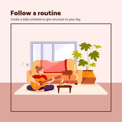Illustrated Instagram Post Maker Featuring a Woman Playing Guitar at Home 1988a-el1