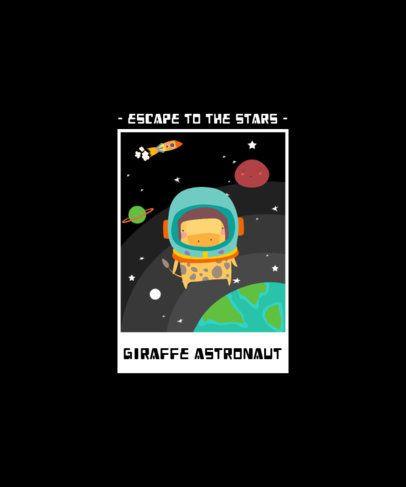 T-Shirt Design Featuring a Giraffe with an Astronaut Helmet 2096b-el1