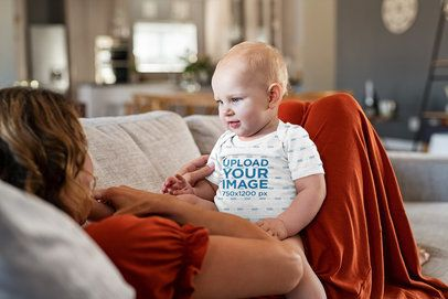 Onesie Mockup Featuring a Baby Boy Playing with His Mom 35958-r-el2