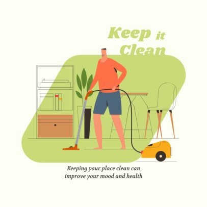 Instagram Post Design Template Featuring an Illustration of a Man Vacuuming 1998c-el1