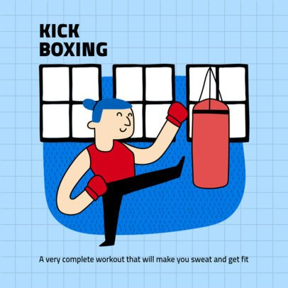 Instagram Post Creator with Tips for Kick Boxing at Home 1975b-el1