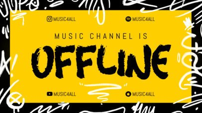 Twitch Offline Banner Maker with Graffiti Sketches for a Music Channel 2703a