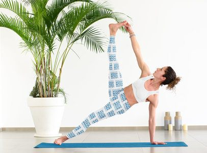Mockup of a Woman in Leggings Doing an Advanced Yoga Pose 38567-r-el2