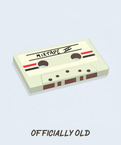 Retro T-Shirt Design Template Featuring an Illustrated Cassette 2694d