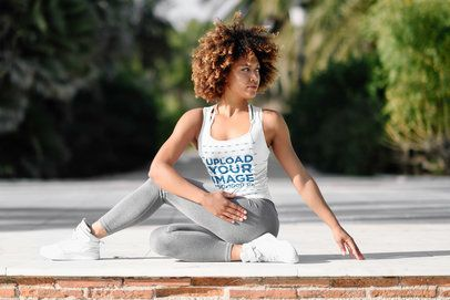 Activewear Tank Top Mockup of a Woman Stretching Her Back 38599-r-el2