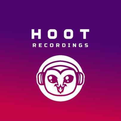 Logo Creator for a Recording Studio Featuring an Owl with Headphones 3427a