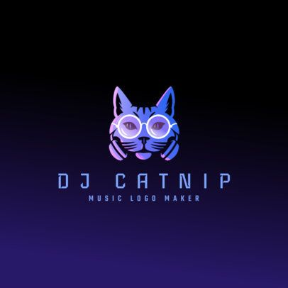 Music Logo Template Featuring a Cool Cat Illustration 3427l