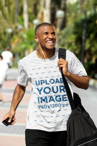 Mockup of a Man Wearing a Loose Heathered T-Shirt 38923-r-el2