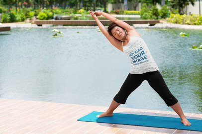 Tank Top Mockup of a Woman Doing Yoga by a Body of Water 38356-r-el2